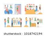 inside maternity shop set.... | Shutterstock . vector #1018742194