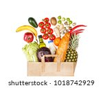 full paper bag with food. flat... | Shutterstock . vector #1018742929