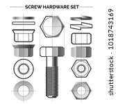 bolt and nut set. metal... | Shutterstock .eps vector #1018743169