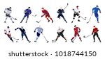 hockey players set on white... | Shutterstock . vector #1018744150