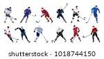 hockey players set on white... | Shutterstock . vector #1018744150