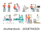 man with cancer set. illness... | Shutterstock . vector #1018744324