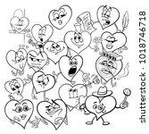 black and white cartoon...   Shutterstock .eps vector #1018746718