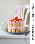 strawberry charlotte with... | Shutterstock . vector #1018747030