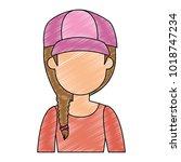 beautiful woman with cap avatar ...   Shutterstock .eps vector #1018747234