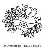 tattoo heart with ribbon ... | Shutterstock .eps vector #1018754158