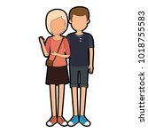 lovers couple avatars characters | Shutterstock .eps vector #1018755583