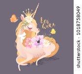 cute  beautiful unicorn.... | Shutterstock .eps vector #1018758049