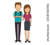 lovers couple avatars characters   Shutterstock .eps vector #1018760356