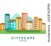 cityscape color background.... | Shutterstock .eps vector #1018762990
