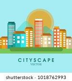 cityscape color background.... | Shutterstock .eps vector #1018762993