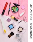 cosmetics makeup objects  top... | Shutterstock . vector #1018764004