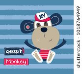 cute cheeky monkey vector... | Shutterstock .eps vector #1018764949
