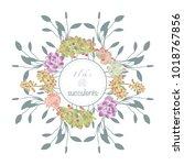 succulent plants flowers wreath.... | Shutterstock .eps vector #1018767856