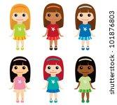 cute girls set 2 | Shutterstock .eps vector #101876803