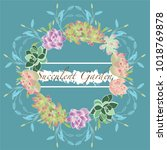 succulent plants frame on a... | Shutterstock .eps vector #1018769878