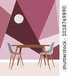 minimalist interior dining room ... | Shutterstock .eps vector #1018769890