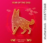 chinese new year of dog zodiac... | Shutterstock .eps vector #1018772668