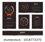 set of 50th happy anniversary... | Shutterstock .eps vector #1018773370