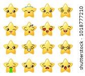 star emoji. cute emoticons.... | Shutterstock .eps vector #1018777210