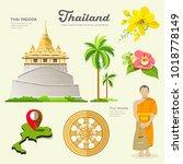 thai pagoda with monks  wheel... | Shutterstock .eps vector #1018778149
