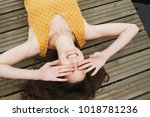 happy sunny woman laughing and... | Shutterstock . vector #1018781236