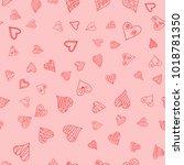 chaotic vector pink doodle... | Shutterstock .eps vector #1018781350