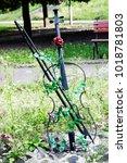 garden decoration metal violin... | Shutterstock . vector #1018781803