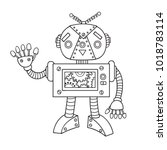 hand drawn cute robot for... | Shutterstock .eps vector #1018783114