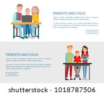 parents and child sitting in... | Shutterstock .eps vector #1018787506