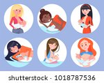 breastfeeding mothers and kids  ... | Shutterstock .eps vector #1018787536
