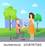 man making proposal to woman ... | Shutterstock .eps vector #1018787560