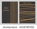 gold chains collection of... | Shutterstock .eps vector #1018789450