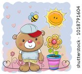 greeting card cute cartoon...   Shutterstock . vector #1018791604
