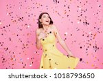Stock photo people victory luck fortune concept portrait of tender gentle cute lovely sweet pretty charming 1018793650