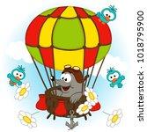 mole in balloon   vector... | Shutterstock .eps vector #1018795900