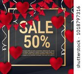 sale with valentine hearts... | Shutterstock .eps vector #1018797316