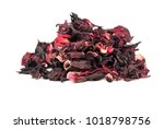Stock photo bunch of dry hibiscus tea isolated on white background 1018798756