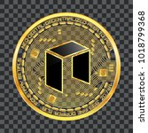 crypto currency golden coin... | Shutterstock .eps vector #1018799368
