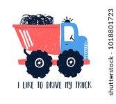 hand drawing truck illustration ... | Shutterstock .eps vector #1018801723