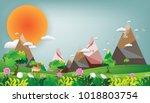 summer landscape green  floral... | Shutterstock .eps vector #1018803754