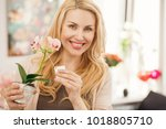 close up portrait of a happy... | Shutterstock . vector #1018805710