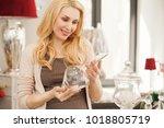 beautiful cheerful mature woman ... | Shutterstock . vector #1018805719