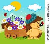 hedgehog with a wooden cart  ... | Shutterstock .eps vector #1018808638