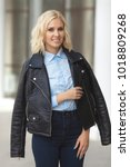beautiful young stylish woman...   Shutterstock . vector #1018809268