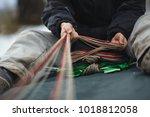 base jumper packing the...   Shutterstock . vector #1018812058