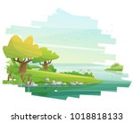 beautiful landscape background  ... | Shutterstock .eps vector #1018818133