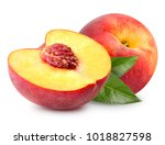 Peach Fruit With Leaf Isolated...