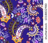 seamless pattern with ornate ... | Shutterstock .eps vector #1018832980