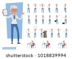 set of business woman showing... | Shutterstock .eps vector #1018839994